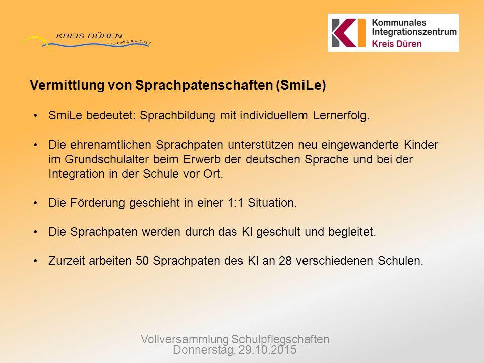 Vollversammlung Schulpflegschaften Donnerstag, 29.10.2015 Vermittlung von Sprachpatenschaften (SmiLe) SmiLe bedeutet: Sprachbildung mit individuellem