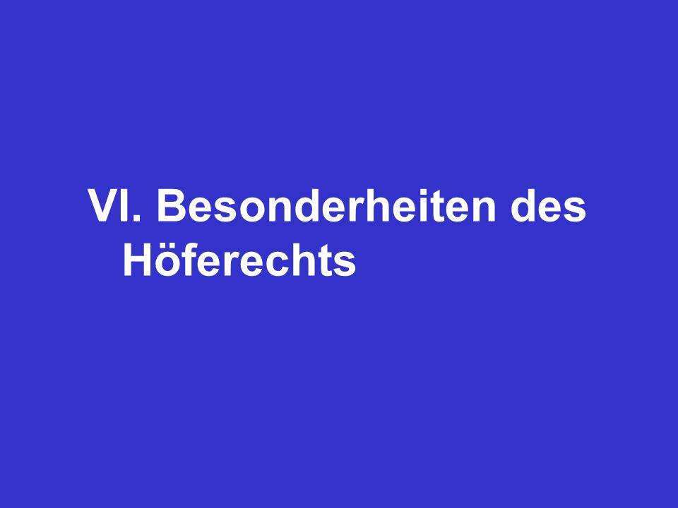 VI. Besonderheiten des Höferechts