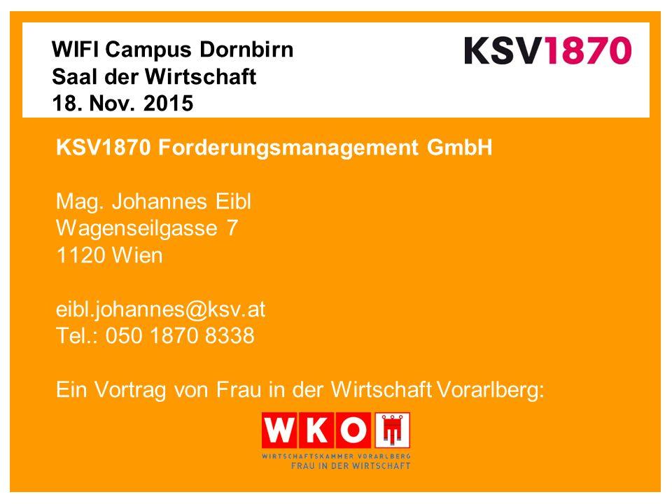 WIFI Campus Dornbirn Saal der Wirtschaft 18. Nov.