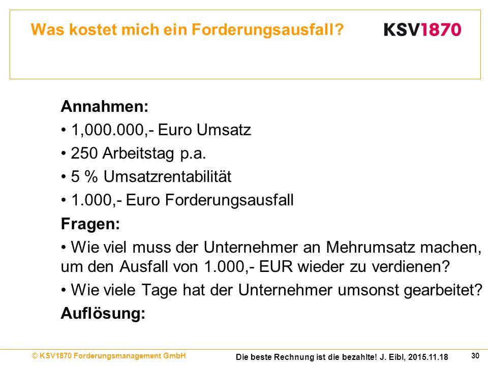 30© KSV1870 Forderungsmanagement GmbH Die beste Rechnung ist die bezahlte.