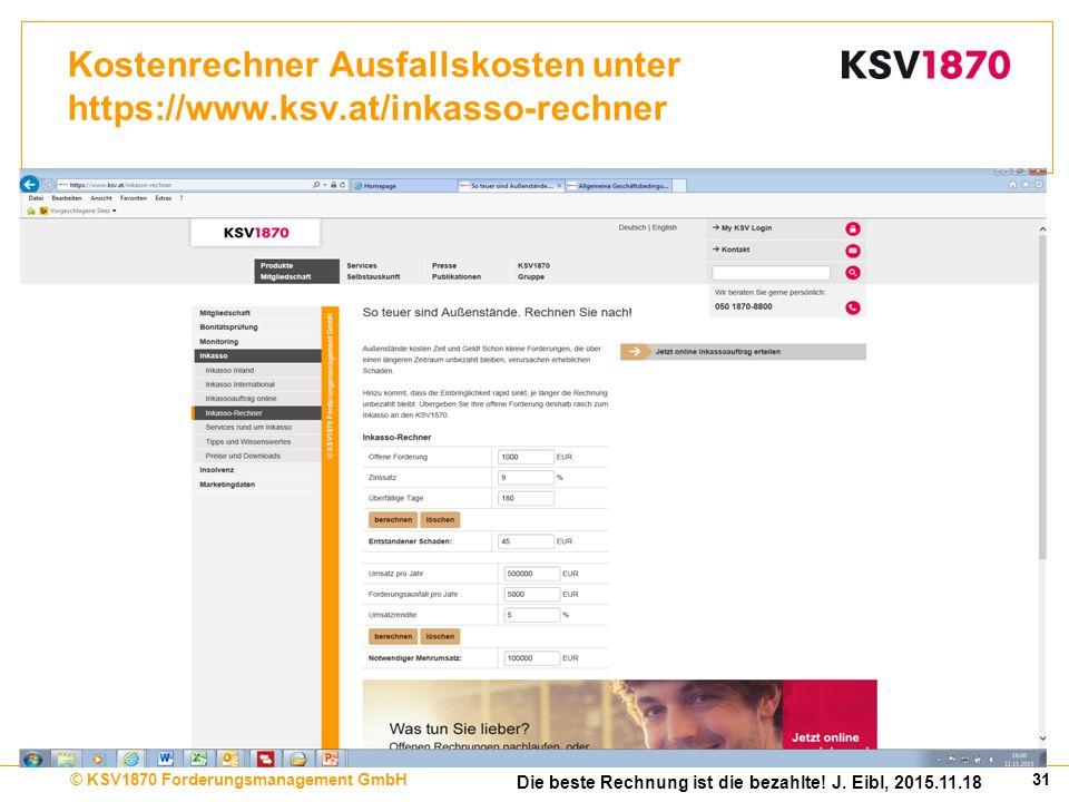 31© KSV1870 Forderungsmanagement GmbH Die beste Rechnung ist die bezahlte.