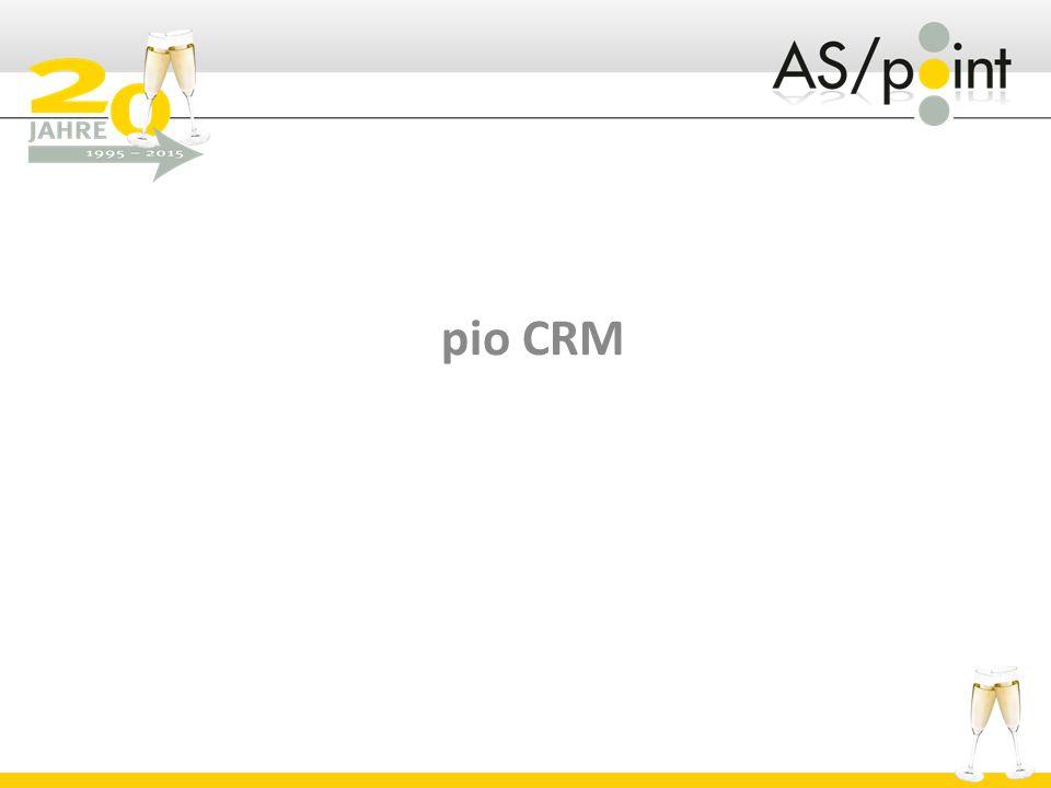 pio CRM - die gewollte Evolution  Dokumente  Unterstützung von beiden Mailclients (Outlook/Notes)  Office Integration (Word/Excel)  Beliebige Dokumentvorlagen  RichText  Word  Mail  HTML-Mail  Ablage in das bestehende DMS-System  Auf Wunsch revisionssicher  Beliebige Verschlagwortung