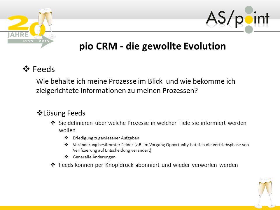 pio CRM - die gewollte Evolution  Feeds Wie behalte ich meine Prozesse im Blick und wie bekomme ich zielgerichtete Informationen zu meinen Prozessen?