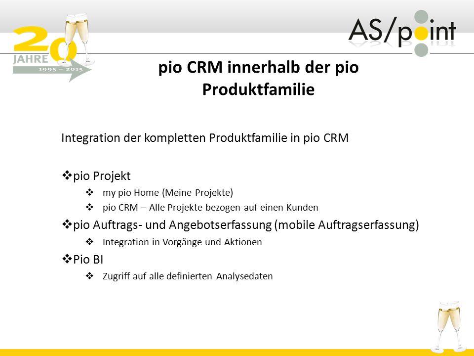 pio CRM innerhalb der pio Produktfamilie Integration der kompletten Produktfamilie in pio CRM  pio Projekt  my pio Home (Meine Projekte)  pio CRM –