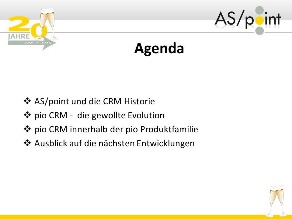 Agenda  AS/point und die CRM Historie  pio CRM - die gewollte Evolution  pio CRM innerhalb der pio Produktfamilie  Ausblick auf die nächsten Entwicklungen