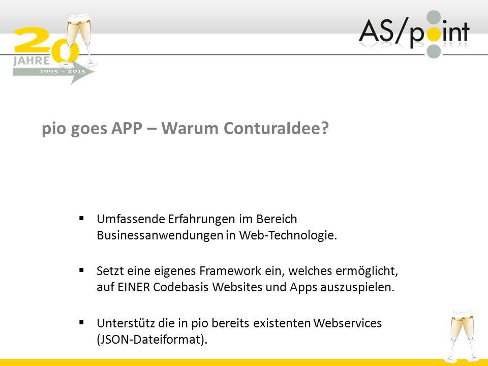 pio goes APP – Warum ConturaIdee?  Umfassende Erfahrungen im Bereich Businessanwendungen in Web-Technologie.  Setzt eine eigenes Framework ein, welc