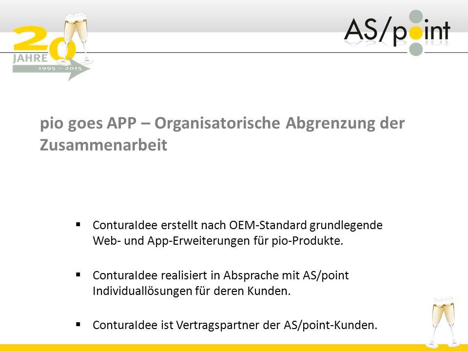 pio goes APP – Organisatorische Abgrenzung der Zusammenarbeit  ConturaIdee erstellt nach OEM-Standard grundlegende Web- und App-Erweiterungen für pio-Produkte.