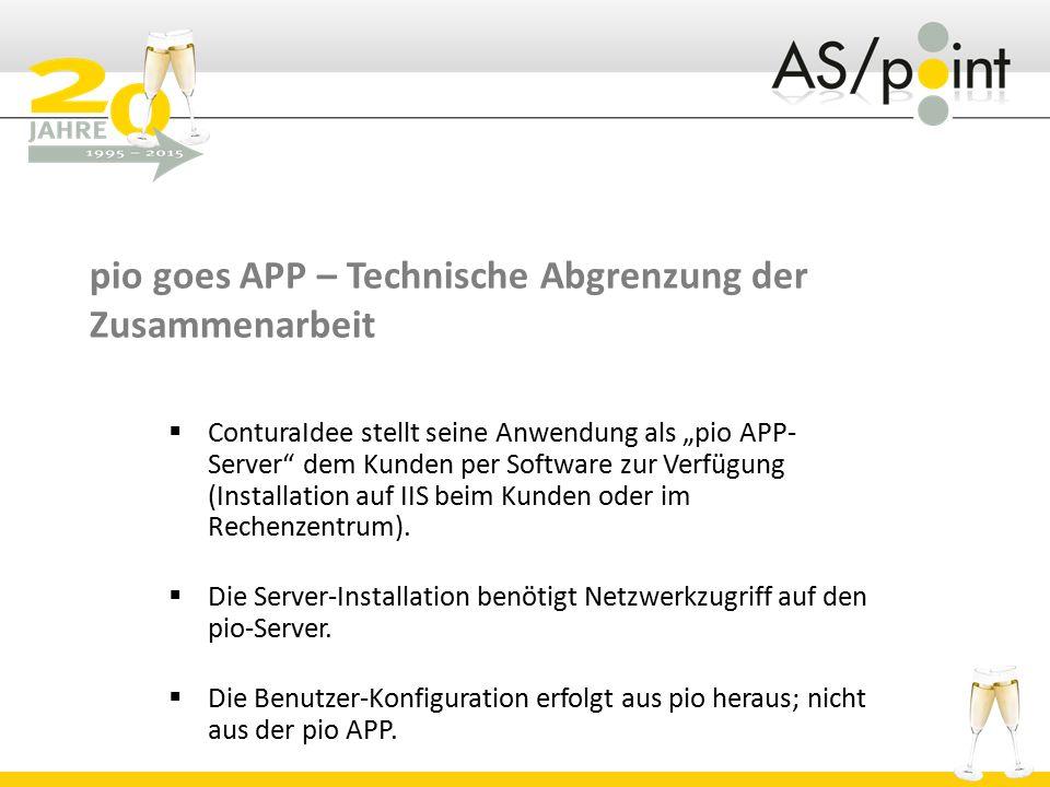 """pio goes APP – Technische Abgrenzung der Zusammenarbeit  ConturaIdee stellt seine Anwendung als """"pio APP- Server dem Kunden per Software zur Verfügung (Installation auf IIS beim Kunden oder im Rechenzentrum)."""