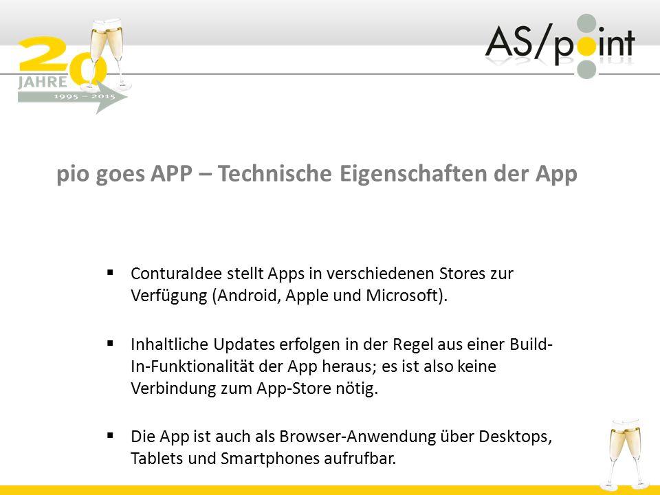 pio goes APP – Technische Eigenschaften der App  ConturaIdee stellt Apps in verschiedenen Stores zur Verfügung (Android, Apple und Microsoft).  Inha