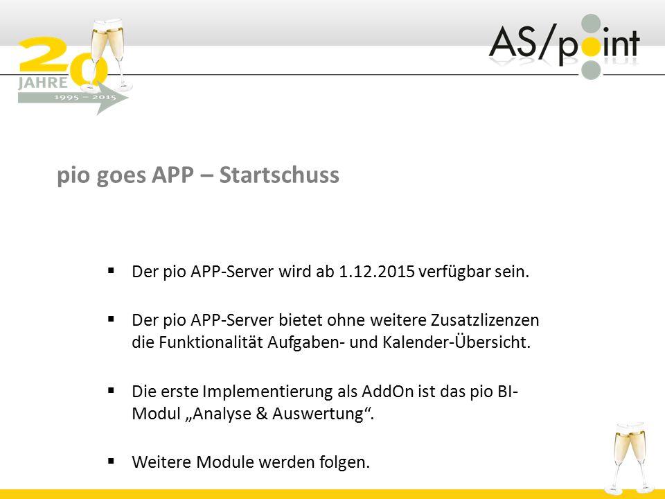 pio goes APP – Startschuss  Der pio APP-Server wird ab 1.12.2015 verfügbar sein.  Der pio APP-Server bietet ohne weitere Zusatzlizenzen die Funktion