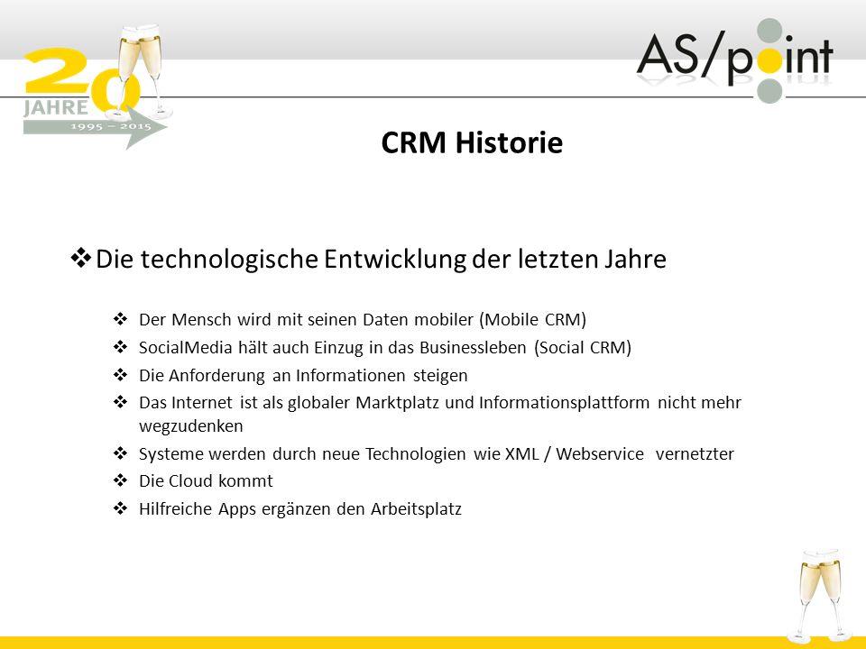 CRM Historie  Die technologische Entwicklung der letzten Jahre  Der Mensch wird mit seinen Daten mobiler (Mobile CRM)  SocialMedia hält auch Einzug