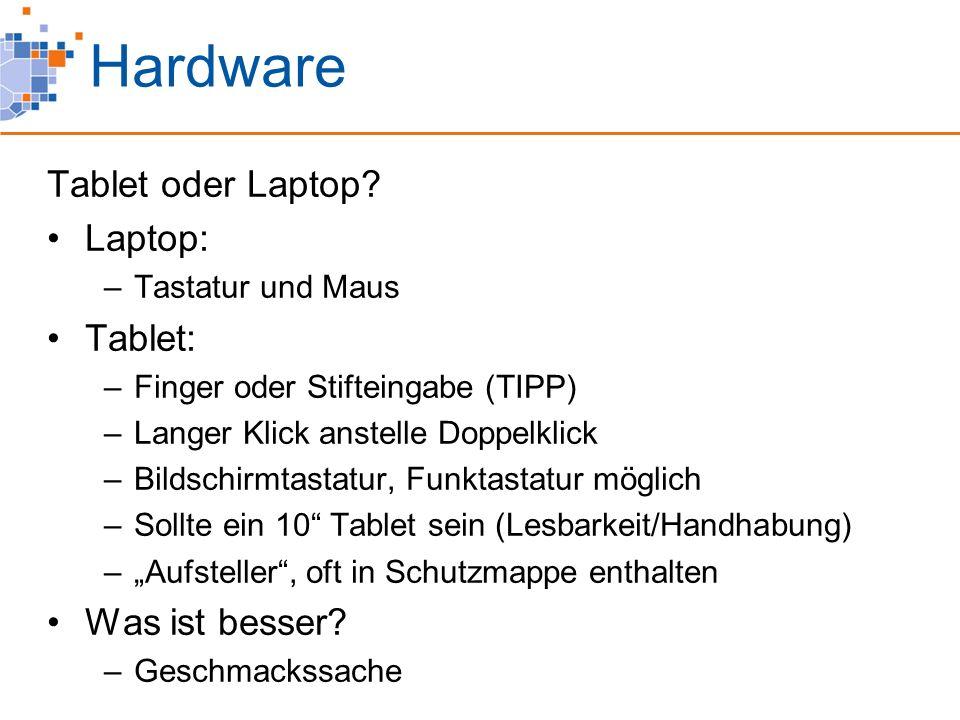 Hardware Tablet oder Laptop? Laptop: –Tastatur und Maus Tablet: –Finger oder Stifteingabe (TIPP) –Langer Klick anstelle Doppelklick –Bildschirmtastatu