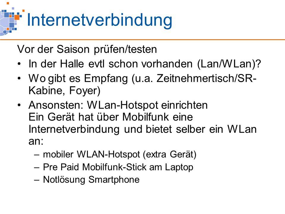 Internetverbindung Vor der Saison prüfen/testen In der Halle evtl schon vorhanden (Lan/WLan).