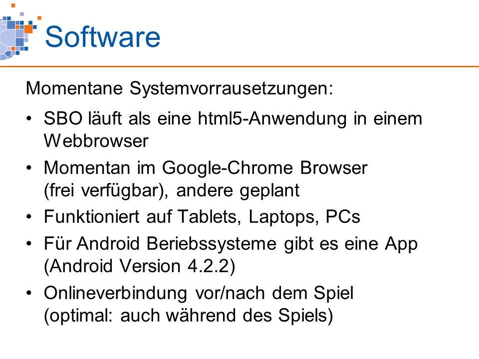 Software SBO läuft als eine html5-Anwendung in einem Webbrowser Momentan im Google-Chrome Browser (frei verfügbar), andere geplant Funktioniert auf Tablets, Laptops, PCs Für Android Beriebssysteme gibt es eine App (Android Version 4.2.2) Onlineverbindung vor/nach dem Spiel (optimal: auch während des Spiels) Momentane Systemvorrausetzungen: