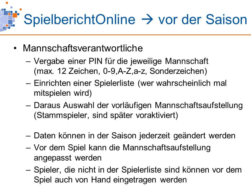 SpielberichtOnline  vor dem Spiel Heimverein: Laden der Spiel(e) vom Server .