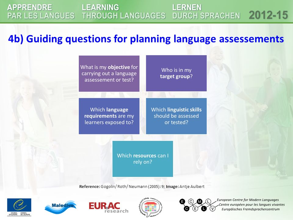 4b) Guiding questions for planning language assessements Reference: Gogolin/ Roth/ Neumann (2005): 9; Image: Antje Aulbert