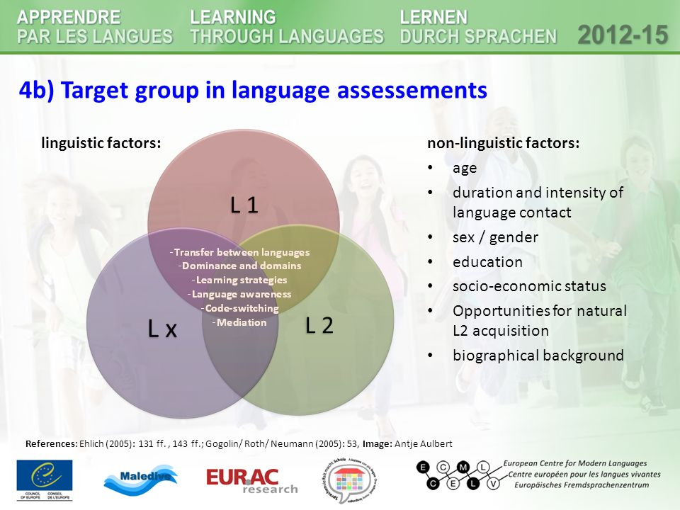 4b) Target group in language assessements linguistic factors:non-linguistic factors: age duration and intensity of language contact sex / gender educa