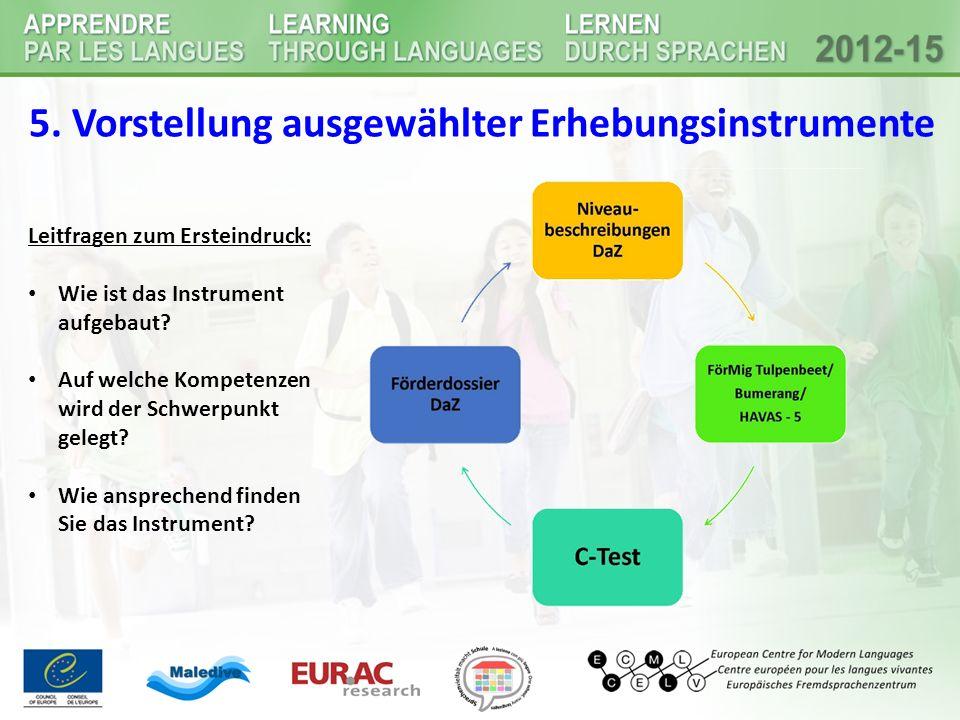 5. Vorstellung ausgewählter Erhebungsinstrumente Leitfragen zum Ersteindruck: Wie ist das Instrument aufgebaut? Auf welche Kompetenzen wird der Schwer