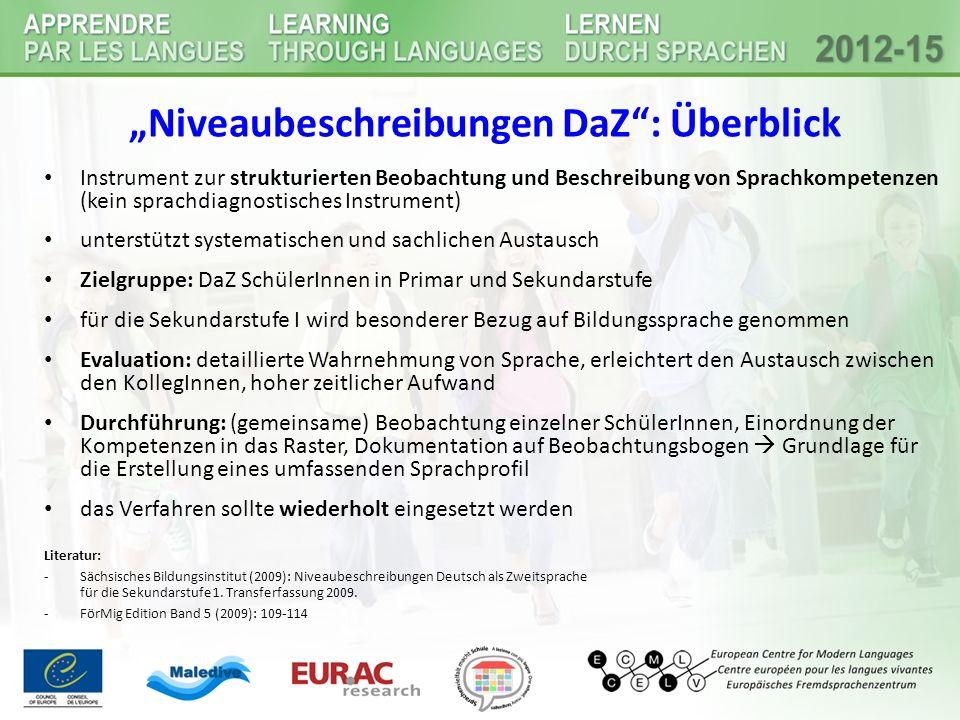 """""""Niveaubeschreibungen DaZ"""": Überblick Instrument zur strukturierten Beobachtung und Beschreibung von Sprachkompetenzen (kein sprachdiagnostisches Inst"""