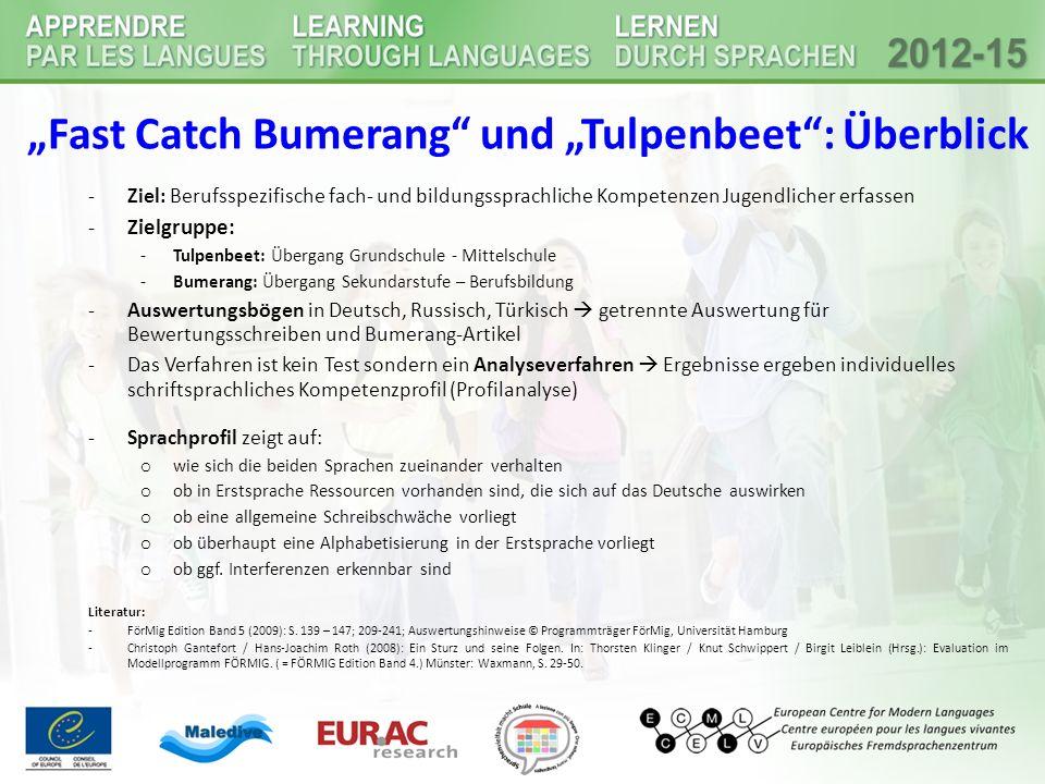"""""""Fast Catch Bumerang"""" und """"Tulpenbeet"""": Überblick -Ziel: Berufsspezifische fach- und bildungssprachliche Kompetenzen Jugendlicher erfassen -Zielgruppe"""