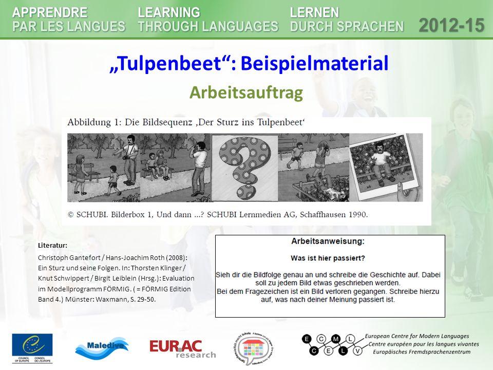 """""""Tulpenbeet"""": Beispielmaterial Arbeitsauftrag Literatur: Christoph Gantefort / Hans-Joachim Roth (2008): Ein Sturz und seine Folgen. In: Thorsten Klin"""