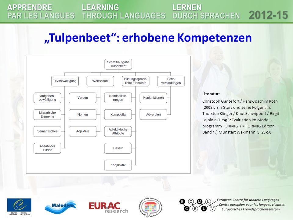 """""""Tulpenbeet"""": erhobene Kompetenzen Literatur: Christoph Gantefort / Hans-Joachim Roth (2008): Ein Sturz und seine Folgen. In: Thorsten Klinger / Knut"""