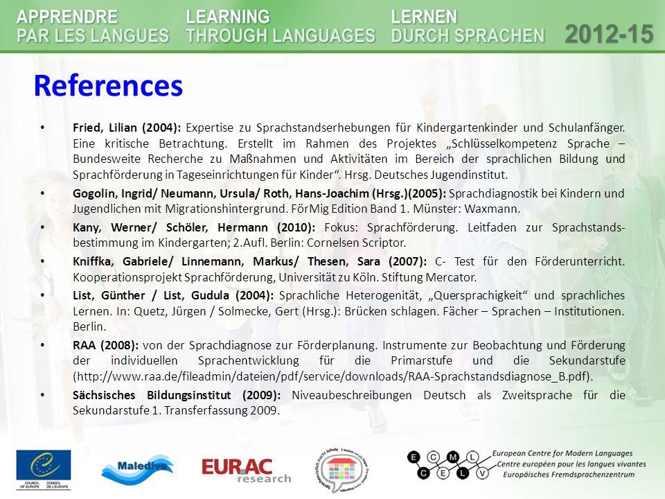 Fried, Lilian (2004): Expertise zu Sprachstandserhebungen für Kindergartenkinder und Schulanfänger. Eine kritische Betrachtung. Erstellt im Rahmen des