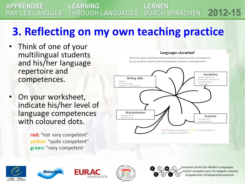 4b) Assessing specific linguistic skills language = comprehensive resource of communication Ehlich: seven basic linguistic qualifications that provide a differentiated view on language Reference: Lengyel/ Reich/ Roth/ Döll (2009): 19