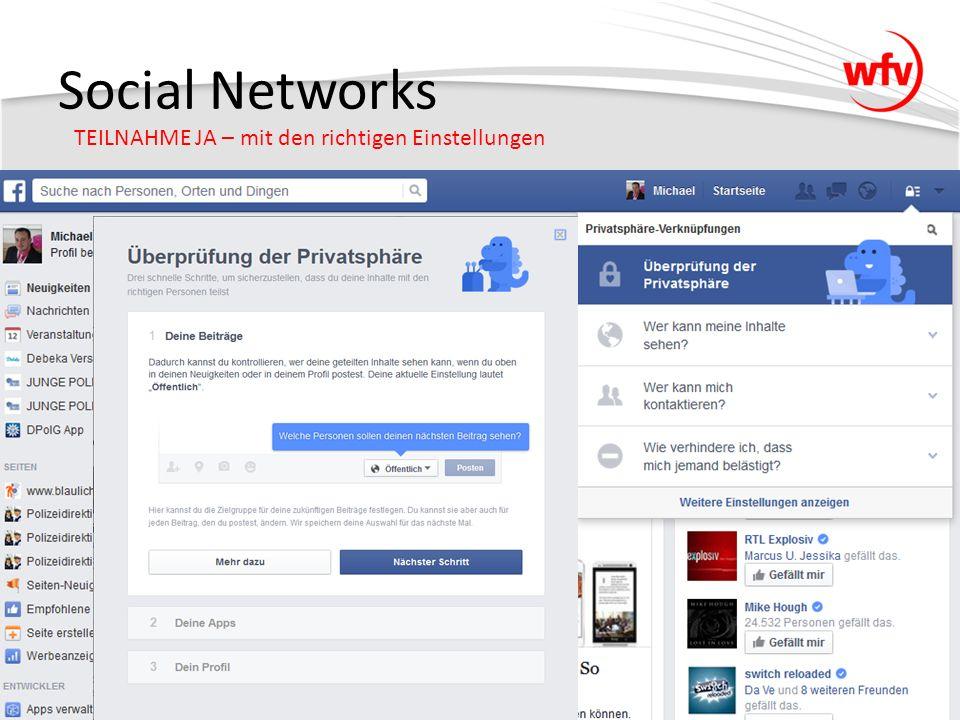 Social Networks TEILNAHME JA – mit den richtigen Einstellungen