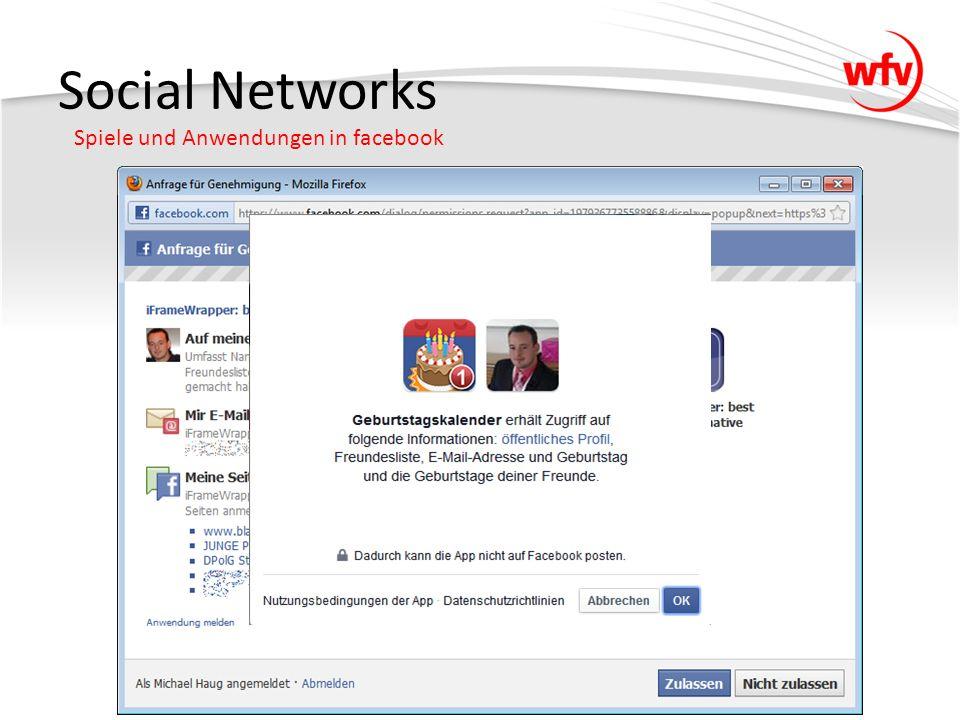 Social Networks Spiele und Anwendungen in facebook