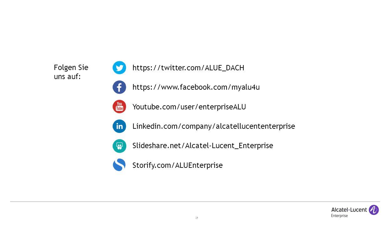 29 Linkedin.com/company/alcatellucententerprise https://twitter.com/ALUE_DACH https://www.facebook.com/myalu4u Youtube.com/user/enterpriseALU Slideshare.net/Alcatel-Lucent_Enterprise Storify.com/ALUEnterprise Folgen Sie uns auf: