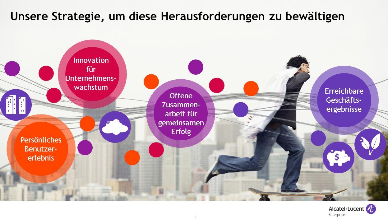 7 Unsere Strategie, um diese Herausforderungen zu bewältigen Innovation für Unternehmens- wachstum Erreichbare Geschäfts- ergebnisse Persönliches Benutzer- erlebnis Offene Zusammen- arbeit für gemeinsamen Erfolg