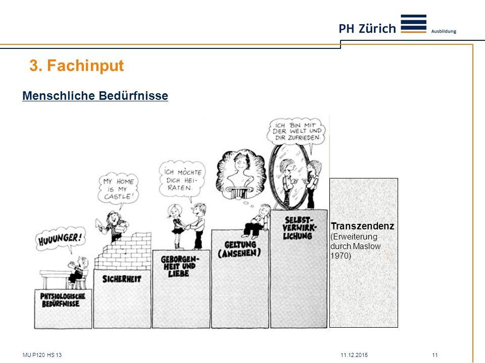 11.12.2015MU P120 HS 13 11 3. Fachinput Menschliche Bedürfnisse Transzendenz (Erweiterung durch Maslow 1970)