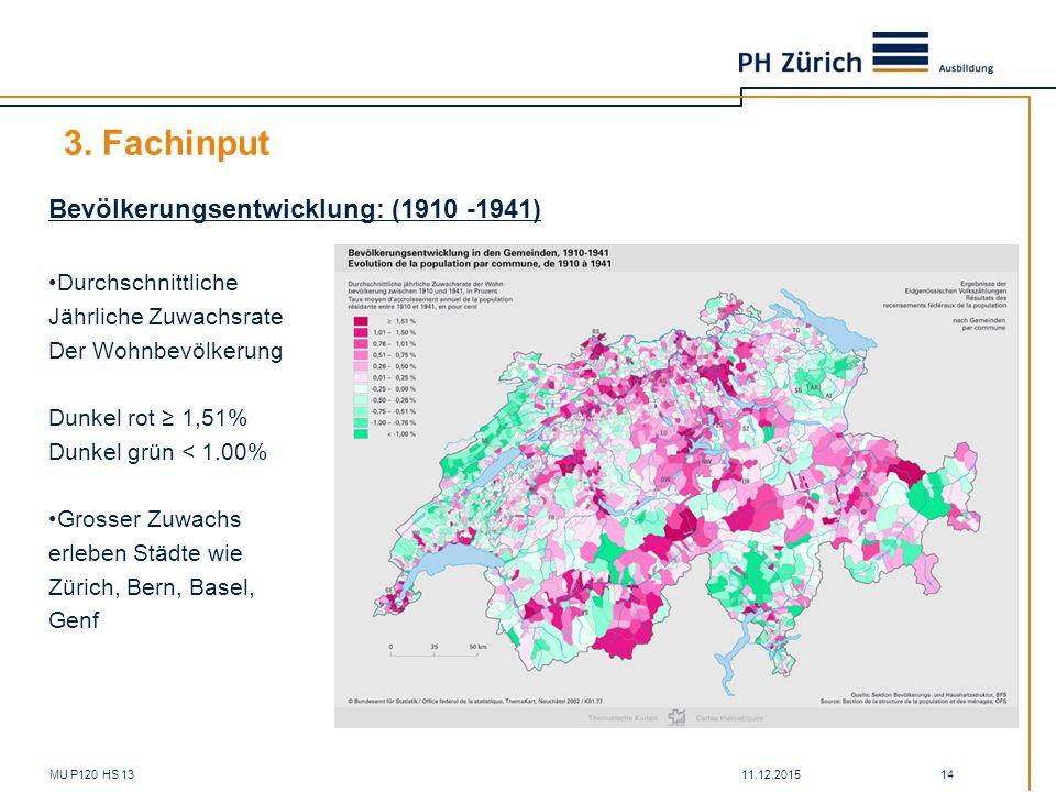11.12.2015MU P120 HS 13 14 3. Fachinput Bevölkerungsentwicklung: (1910 -1941) Durchschnittliche Jährliche Zuwachsrate Der Wohnbevölkerung Dunkel rot ≥