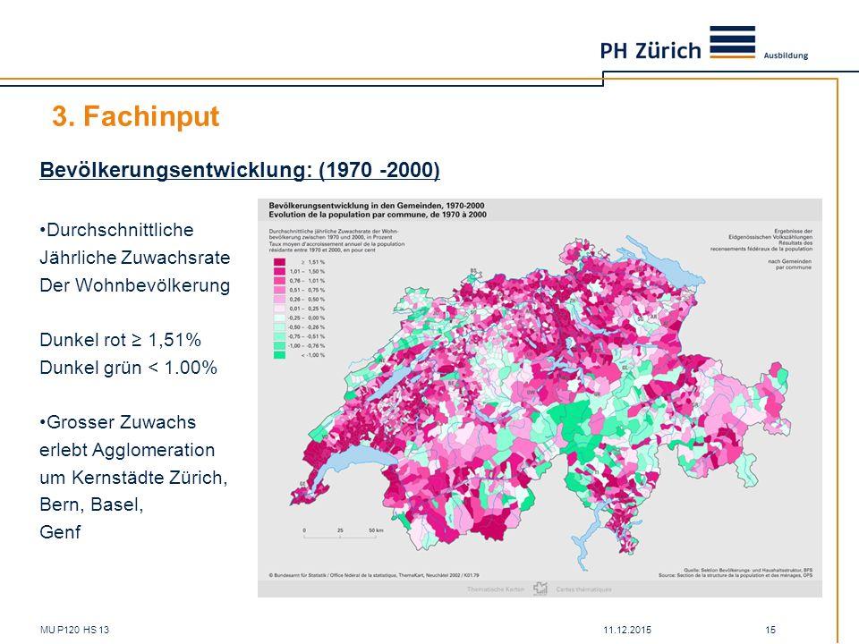 11.12.2015MU P120 HS 13 15 3. Fachinput Bevölkerungsentwicklung: (1970 -2000) Durchschnittliche Jährliche Zuwachsrate Der Wohnbevölkerung Dunkel rot ≥