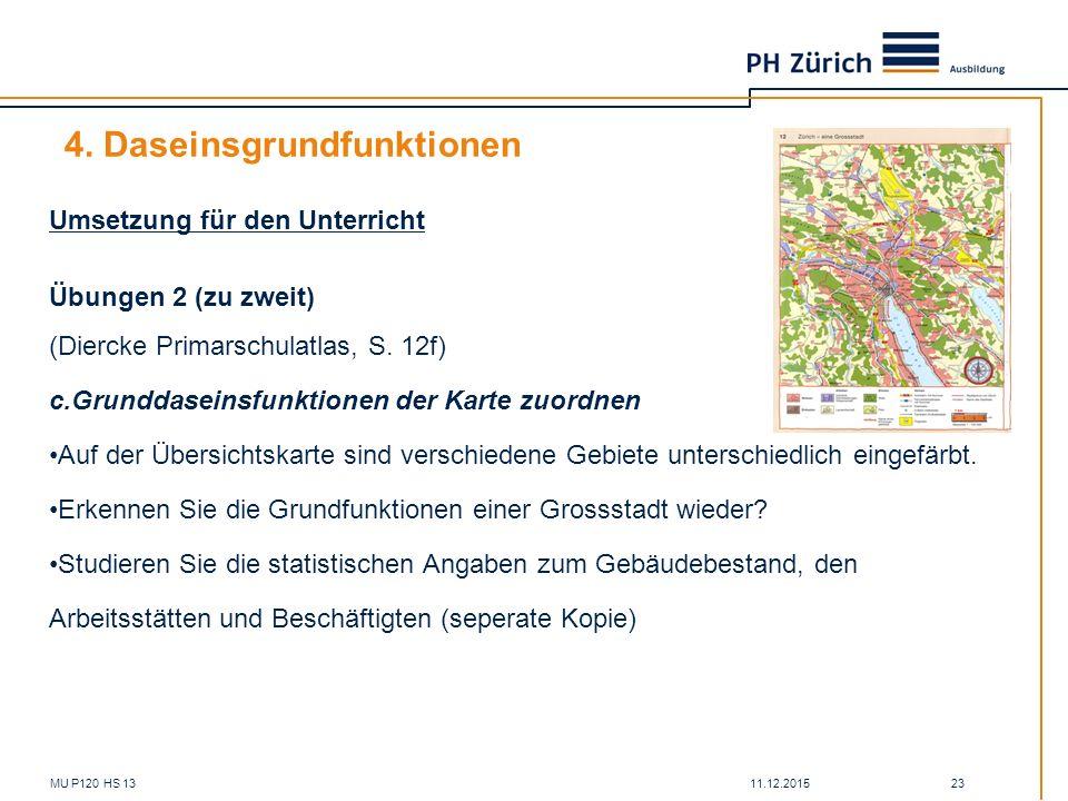 11.12.2015MU P120 HS 13 23 4. Daseinsgrundfunktionen Umsetzung für den Unterricht Übungen 2 (zu zweit) (Diercke Primarschulatlas, S. 12f) c.Grunddasei