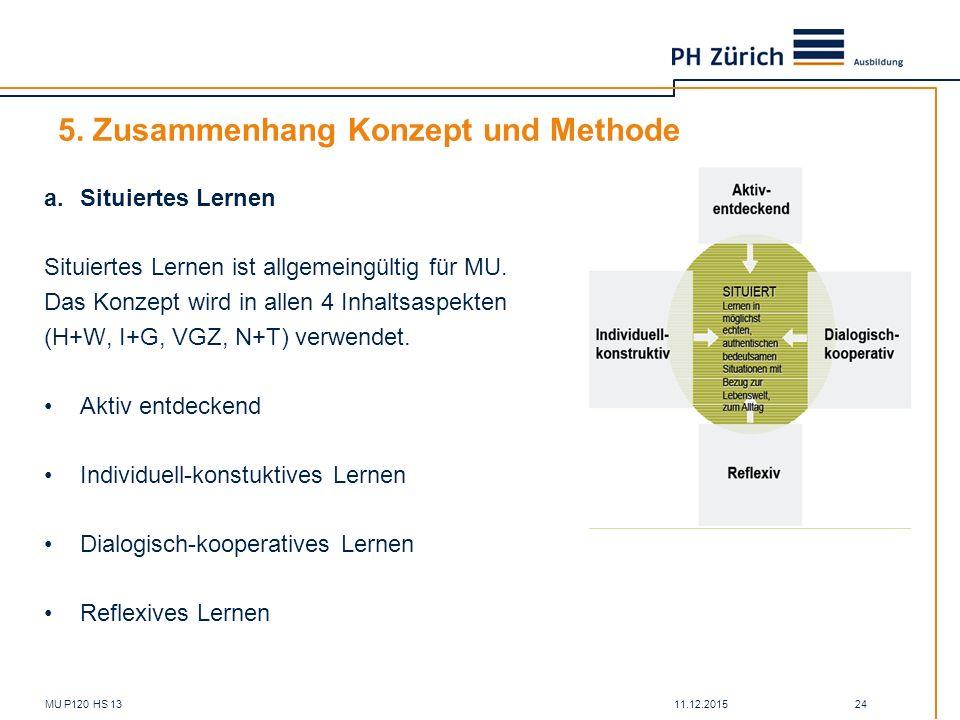 11.12.2015MU P120 HS 13 24 5. Zusammenhang Konzept und Methode a.Situiertes Lernen Situiertes Lernen ist allgemeingültig für MU. Das Konzept wird in a