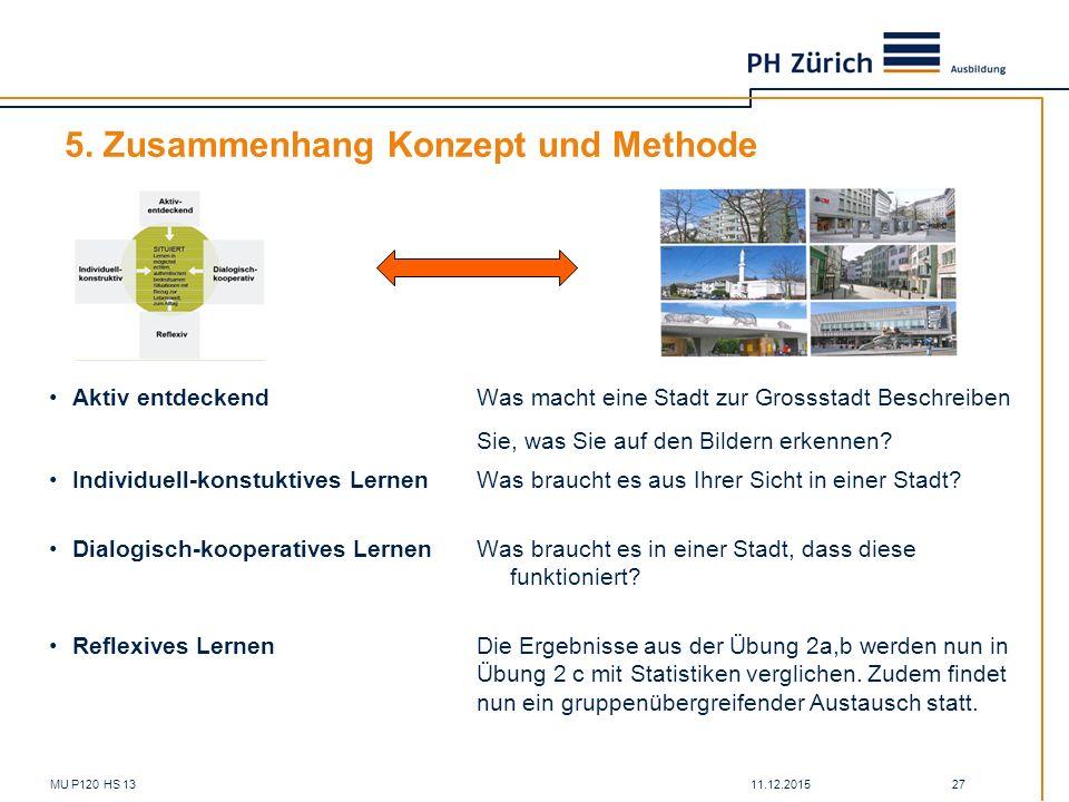 11.12.2015MU P120 HS 13 27 5. Zusammenhang Konzept und Methode Aktiv entdeckendWas macht eine Stadt zur Grossstadt Beschreiben Sie, was Sie auf den Bi