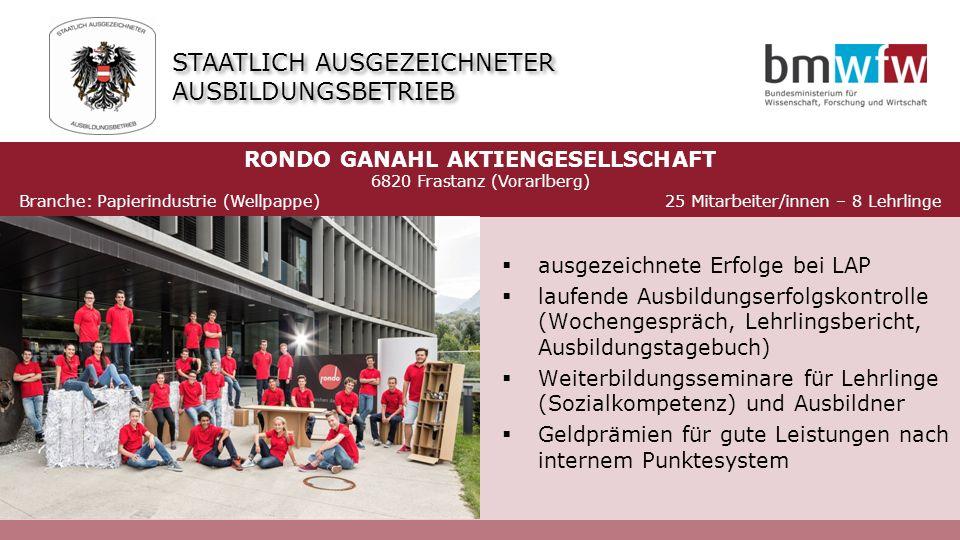  ausgezeichnete Erfolge bei LAP  laufende Ausbildungserfolgskontrolle (Wochengespräch, Lehrlingsbericht, Ausbildungstagebuch)  Weiterbildungsseminare für Lehrlinge (Sozialkompetenz) und Ausbildner  Geldprämien für gute Leistungen nach internem Punktesystem RONDO GANAHL AKTIENGESELLSCHAFT 6820 Frastanz (Vorarlberg) Branche: Papierindustrie (Wellpappe) 25 Mitarbeiter/innen – 8 Lehrlinge STAATLICH AUSGEZEICHNETER AUSBILDUNGSBETRIEB