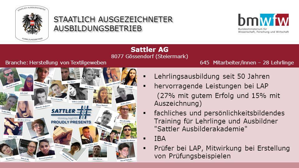  Lehrlingsausbildung seit 50 Jahren  hervorragende Leistungen bei LAP (27% mit gutem Erfolg und 15% mit Auszeichnung)  fachliches und persönlichkeitsbildendes Training für Lehrlinge und Ausbildner Sattler Ausbilderakademie  IBA  Prüfer bei LAP, Mitwirkung bei Erstellung von Prüfungsbeispielen Sattler AG 8077 Gössendorf (Steiermark) Branche: Herstellung von Textilgeweben 645 Mitarbeiter/innen – 28 Lehrlinge STAATLICH AUSGEZEICHNETER AUSBILDUNGSBETRIEB 2011