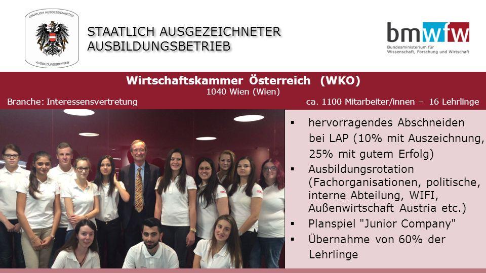  hervorragendes Abschneiden bei LAP (10% mit Auszeichnung, 25% mit gutem Erfolg)  Ausbildungsrotation (Fachorganisationen, politische, interne Abteilung, WIFI, Außenwirtschaft Austria etc.)  Planspiel Junior Company  Übernahme von 60% der Lehrlinge Wirtschaftskammer Österreich (WKO) 1040 Wien (Wien) Branche: Interessensvertretung ca.