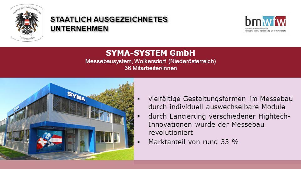  vielfältige Gestaltungsformen im Messebau durch individuell auswechselbare Module  durch Lancierung verschiedener Hightech- Innovationen wurde der Messebau revolutioniert  Marktanteil von rund 33 % STAATLICH AUSGEZEICHNETES UNTERNEHMEN SYMA-SYSTEM GmbH Messebausystem, Wolkersdorf (Niederösterreich) 36 Mitarbeiter/innen