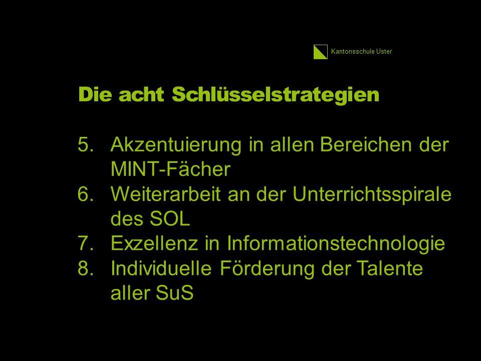 Kantonsschule Uster Die acht Schlüsselstrategien 5.Akzentuierung in allen Bereichen der MINT-Fächer 6.Weiterarbeit an der Unterrichtsspirale des SOL 7.Exzellenz in Informationstechnologie 8.Individuelle Förderung der Talente aller SuS