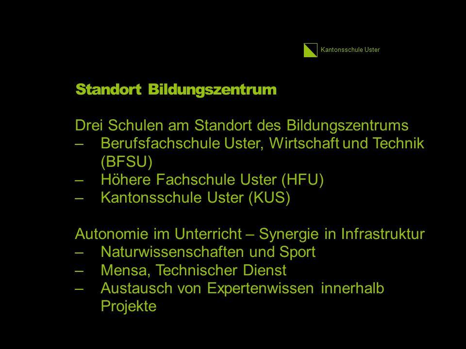 Kantonsschule Uster Standort Bildungszentrum Drei Schulen am Standort des Bildungszentrums –Berufsfachschule Uster, Wirtschaft und Technik (BFSU) –Höh