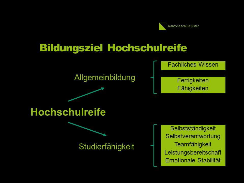 Kantonsschule Uster Bildungsziel Hochschulreife Fachliches Wissen Fertigkeiten Fähigkeiten Selbstständigkeit Selbstverantwortung Teamfähigkeit Leistun