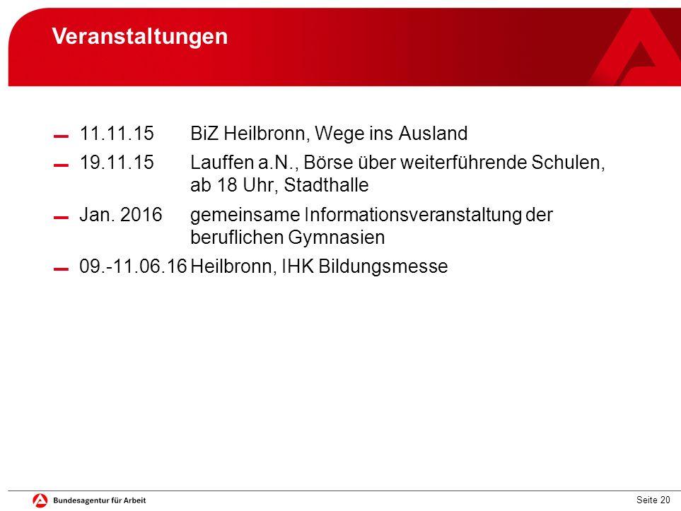 Seite 20 Veranstaltungen ▬ 11.11.15BiZ Heilbronn, Wege ins Ausland ▬ 19.11.15Lauffen a.N., Börse über weiterführende Schulen, ab 18 Uhr, Stadthalle ▬ Jan.
