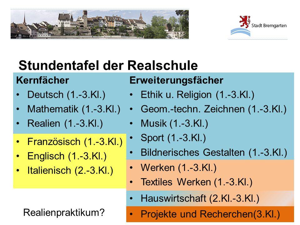 Stundentafel der Realschule Kernfächer Deutsch (1.-3.Kl.) Mathematik (1.-3.Kl.) Realien (1.-3.Kl.) Erweiterungsfächer Ethik u. Religion (1.-3.Kl.) Geo