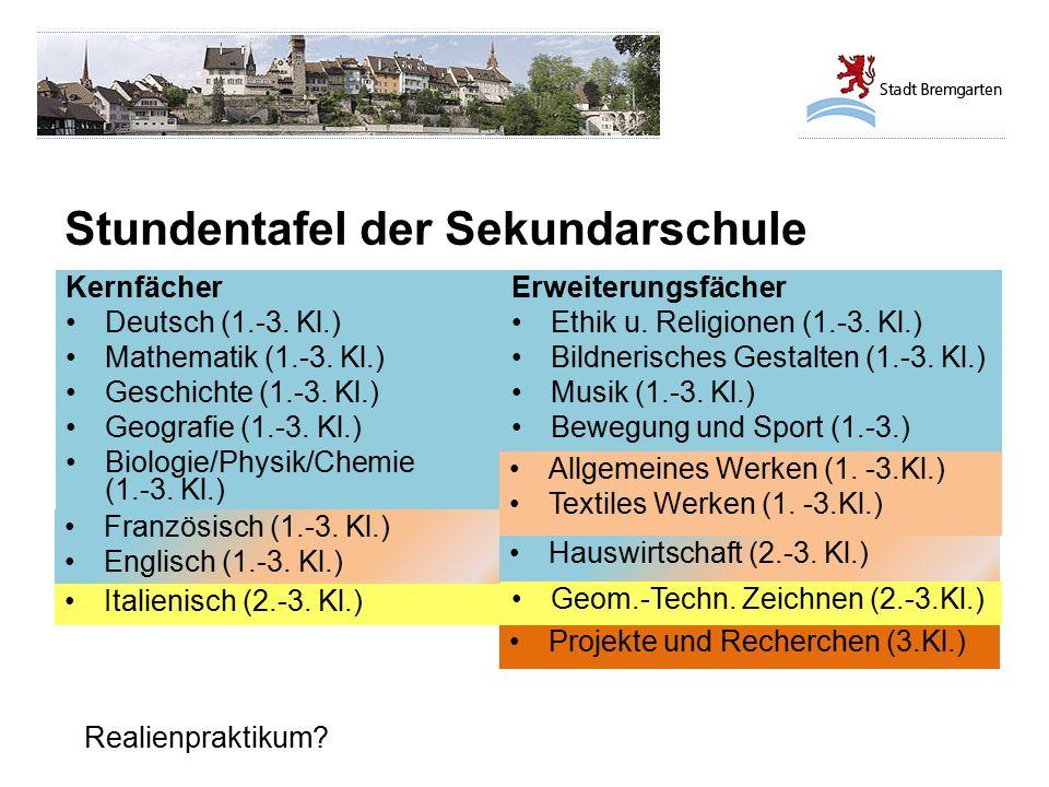 Stundentafel der Sekundarschule Realienpraktikum? Kernfächer Deutsch (1.-3. Kl.) Mathematik (1.-3. Kl.) Geschichte (1.-3. Kl.) Geografie (1.-3. Kl.) B