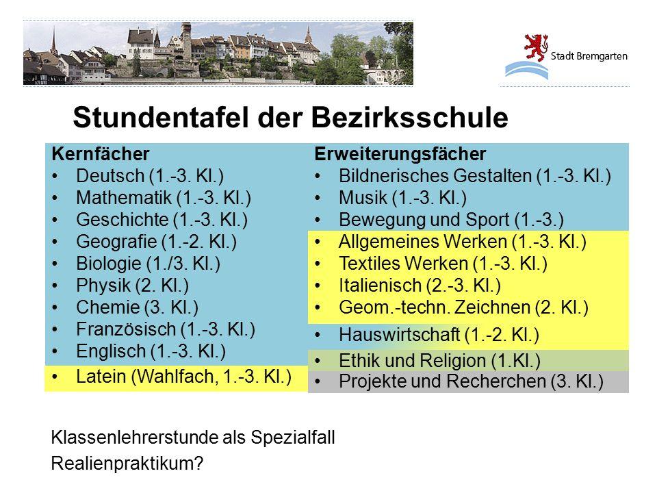Stundentafel der Bezirksschule Klassenlehrerstunde als Spezialfall Realienpraktikum? Kernfächer Deutsch (1.-3. Kl.) Mathematik (1.-3. Kl.) Geschichte