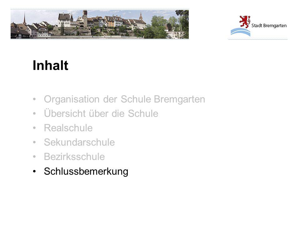 Inhalt Organisation der Schule Bremgarten Übersicht über die Schule Realschule Sekundarschule Bezirksschule Schlussbemerkung